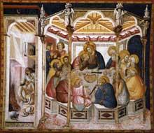 Pietro Lorenzetti: La dernière Cène. Vers 1320. Fresque. Assise, église inférieure saint François, transept sud