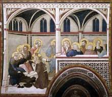Pietro Lorenzetti: Le lavement des pieds. Vers 1320. Fresque. Assise, église inférieure saint François, transept sud