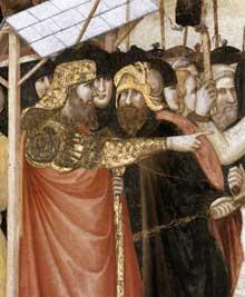 Pietro Lorenzetti: L'arrestation du Christ, détail. Vers 1320. Fresque. Assise, église inférieure saint François, transept sud