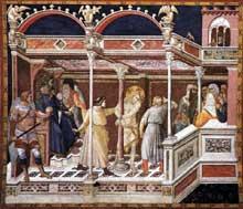Pietro Lorenzetti: La flagellation du Christ. Vers 1320. Fresque. Assise, église inférieure saint François, transept sud