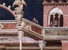 Pietro Lorenzetti: La flagellation du Christ, détail. Vers 1320. Fresque. Assise, église inférieure saint François, transept sud