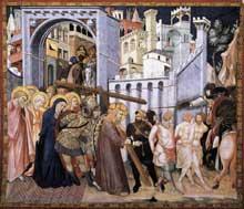 Pietro Lorenzetti: Le chemin du Calvaire. Vers 1320. Fresque. Assise, église inférieure saint François, transept sud