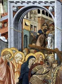 Pietro Lorenzetti: Le chemin du Calvaire, détail. Vers 1320. Fresque. Assise, église inférieure saint François, transept sud