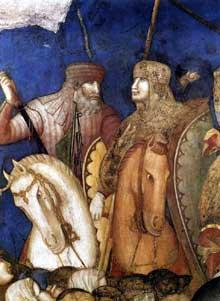 Pietro Lorenzetti: Crucifixion, détail. Vers 1320. Fresque. Assise, église inférieure saint François, transept sud