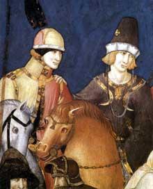 Pietro Lorenzetti: Crucifixion, détail. Vers 1320. Fresque. Assise, église inférieure saint François, transept sud. Ce détail montre deux amis souriant sur la gauche, alolrs que leurs chevaux semblent eux aussi engagés dans un dialogue