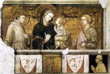 Pietro Lorenzetti: Madone avec saint François et saint Jean l'Evangéliste. Vers 1320. Fresque. Assise, église inférieure saint François, transept sud