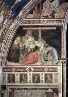 Pietro Lorenzetti: La deposition de la croix. Vers 1320. Fresque. Assise, église inférieure saint François, transept sud