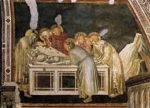 Pietro Lorenzetti: La mise au tombeau. Vers 1320. Fresque. Assise, église inférieure saint François, transept sud