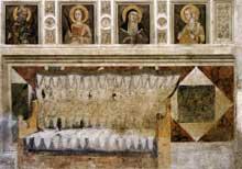 Pietro Lorenzetti: Décor architectural. Vers 1320. Fresque. Assise, église inférieure saint François, transept sud