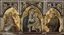 Pietro Lorenzetti: Madone et enfant avec saint Jean Baptiste et saint François. Vers 1320. Fresque. Assise, église inférieure saint François, transept sud