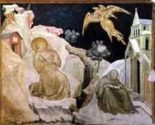 Pietro Lorenzetti: Les stigmates de Saint Francois. Vers 1320. Fresque. Assise, église inférieure saint François, transept sud