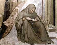 Pietro Lorenzetti: Les stigmates de Saint Francois, détail. Vers 1320. Fresque. Assise, église inférieure saint François, transept sud