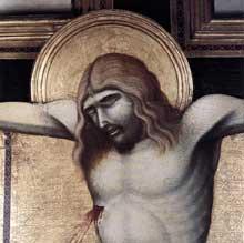 Pietro Lorenzetti: Crucifix, détail. Vers 1320. Panneau de bois, 380 x 274 cm. Cortone, Musée diocésain