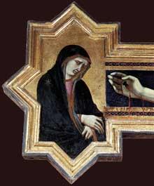 Pietro Lorenzetti: Crucifix, détail: la vierge. Vers 1320. Panneau de bois, 380 x 274 cm. Cortone, Musée diocésain