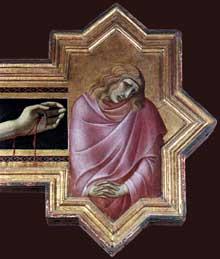 Pietro Lorenzetti: Crucifix, détail: saint Jean. Vers 1320. Panneau de bois, 380 x 274 cm. Cortone, Musée diocésain