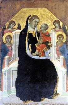 Pietro Lorenzetti: Vierge de gloire trônant avec le Christ et quatre anges. Vers 1320. Tempera sur bois, 126 x 83 cm. Cortone, Musée diocésain