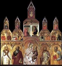 Pietro Lorenzetti: Madone et enfant avec saints et annonciation. 1320. Tempera sur bois. Arezzo, Pieve di Santa Maria