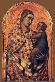 Pietro Lorenzetti: Madone et enfant avec saints et annonciation, détail. 1320. Tempera sur bois. Arezzo, Pieve di Santa Maria