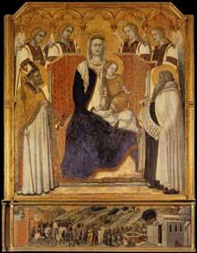 Pietro Lorenzetti: Madone avec anges entre saint Nicolas et le prophète Elisée. 1328-1329. Tempera sur bois, 169 x 148 cm. Sienne, Pinacothèque Nationale