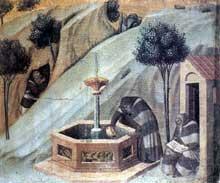 Pietro Lorenzetti: La retraite d'Elisée. 1328-1329. Tempera sur bois. Sienne, Pinacothèque Nationale