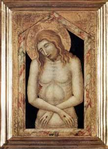 Pietro Lorenzetti: Le Christ aux outrages. Vers 1330. Tempera sur bois, 32 x 52 cm. (avec le cadre originel). Altenbourg Lindenau Museum