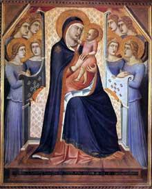 Pietro Lorenzetti: Madone de gloire avec anges. 1340. Tempera sur bois, 145 x 122 cm. Florence, les Offices