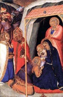 Pietro Lorenzetti: Adoration des mages. Vers 1340. Bois, 33 x 24 cm. Paris, Musée du Louvre