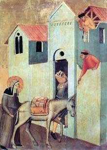 Pietro Lorenzetti: La bienheureuse Umilta transporte des briques au monastère. Vers 1341. Huile sur bois, 45 x 32 cm. Florence, les Offices