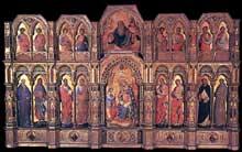Lorenzo Veneziano: Le Polyptyque Lion. 1357-1359. Tempera sur panneau de bois, 258 x 432 cm. Venise, Gallerie dell'Accademia