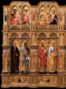 Lorenzo Veneziano: Le Polyptyque Lion, partie gauche. 1357-1359. Tempera sur panneau de bois, 258 x 432 cm. Venise, Gallerie dell'Accademia