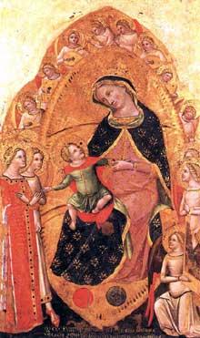 Lorenzo Veneziano: Le Mariage de Sainte Catherine. 1359. Tempera sur panneau de bois, 95 x 58 cm. Venise, Gallerie dell'Accademia
