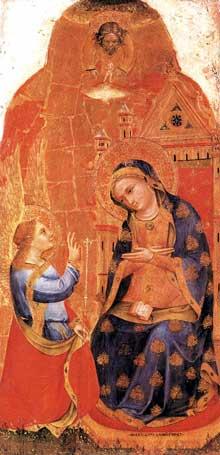 Lorenzo Veneziano: Annonciation. 1371. Tempera sur panneau de bois, 111 x 54 cm. Venise, Galleria dell'Accademia
