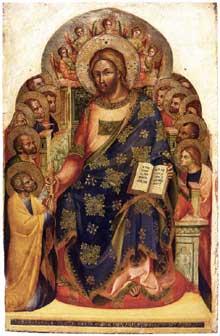 Lorenzo Veneziano: le Christ remet les clefs à saint Pierre. 1369. Bois, 90 x 60 cm. Venise, Musée Correr