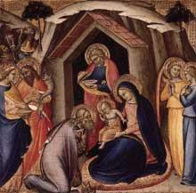 Luca di Tomme: Adoration des mages. 1360-1365. Tempera sur panneau de bois, 41 x 42 cm. Madrid, Museo Thyssen-Bornemisza