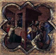 Luca di Tomme: Scènes de la vie de saint Thomas. 1362. Tempera sur panneau de bois, 32 x 34 cm. Edimbourg, National Gallery of Scotland