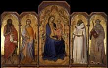 Luca di Tomme: Vierge à l'enfant avec des Saints. 1362. Tempera sur panneau de bois, 191 x 297 cm. Sienne, Pinacothèque Nationale