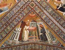 Maître de l'histoire d'Isaac: Les docteurs de l'Eglise: saint Jérôme. Entre 1290 et 1295. Fresque. Eglise supérieure Saint François, Assise