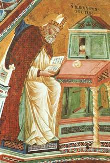 Maître de l'histoire d'Isaac: Les docteurs de l'Eglise, détail: saint Jérôme. Entre 1290 et 1395. Fresque. Eglise supérieure Saint François, Assise