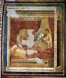 Maître de l'histoire d'Isaac: Scène de l'Ancien testament: Isaac bénissant Jacob. 1290ss. Fresque, 300 x 300 cm. Eglise supérieure Saint François, Assise