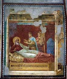 Maître de l'histoire d'Isaac: Scène de l'Ancien testament: Isaac refuse sa bénédiction à Esaü. 1290ss. Fresque, 300 x 300 cm. Eglise supérieure Saint François, Assise