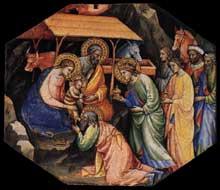 Mariotto di Nardo: Scène de la vie du Christ. Tempera sur panneau de bois octogonal, 29 x 34 cm. Collection privée. Ce panneau de bois constituait avec cinq autres panneaux de la même série la prédelle d'un retable inconnu et aujourd'hui perdu. Il décrit l'Adoration des Mages