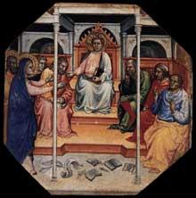 Mariotto di Nardo: Scène de la vie du Christ. Tempera sur panneau de bois octogonal, 31 x 31 cm. Collection privée. Ce panneau de bois constituait avec cinq autres panneaux de la même série la prédelle d'un retable inconnu et aujourd'hui perdu. Il décrit le Christ au milieu des docteurs