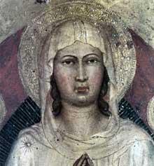 Martino di Bartolommeo: Assomption de la Vierge, détail. Vers 1408.Panneau de bois, 135 x 52 cm. Cortone, Museo Diocesano