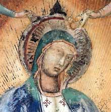 Simone Martini: Madone de gloire avec anges musiciens (détail). 1311-1314. Fresque. San Gimignano. Oratoire de San Lorenzo in Ponte