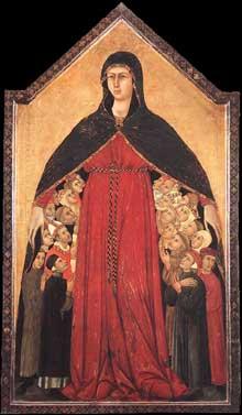 Simone Martini: Madone de Miséricorde. 1308-1310. Tempera sur bois, 154 x 84 cm. Sienne, Pinacothèque Nationale