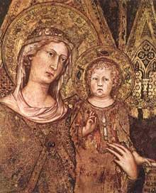 Simone Martini: Maestà, détail. 1315. Fresque, 763 x 970 cm. Sienne, Palazzo Pubblico