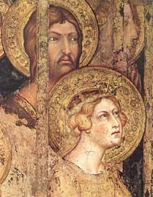 Simone Martini: Maestà, détail. 1315. 79 x 65 cm. Sienne, Palazzo Pubblico. Le détail montre Sainte Catherine d'Alexandrie à gauche de la fresque