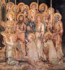 Simone Martini: Maestà, détail. 1315. Fresque, 79 x 65 cm. Sienne, Palazzo Pubblico