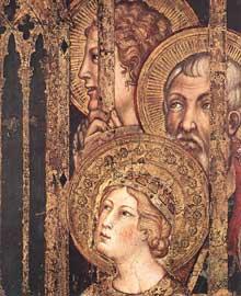 Simone Martini: Maestà, détail. 1315. Fresque, 79 x 65 cm. Sienne, Palazzo Pubblico. Le détail montre Sainte Barbara sur la partie droite de la fresque
