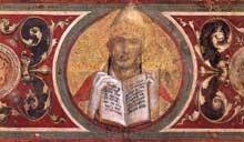 Simone Martini: Maestà, détail des médaillons. 1315. Fresque, 79 x 65 cm. Sienne, Palazzo Pubblico. Le médaillon représente Saint Grégoire
